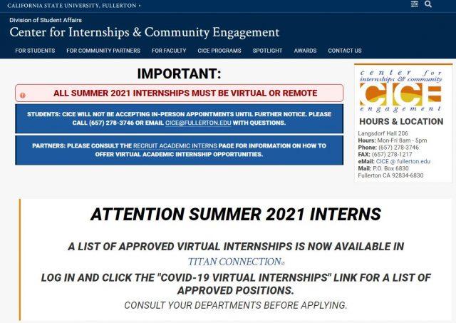 CSU Fullerton Center for Internships and Community Engagement